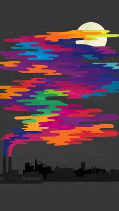 ↑↑TAP AND GET THE FREE APP! Art Colorful Dark Sky City Moon Smoke Grey Creative HD iPhone 5 Wallpaper