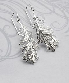 Another great find on #zulily! Sterling Silver Peacock Feather Drop Earrings #zulilyfinds