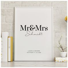 Personalized Posters, Personalized Wedding Gifts, Unique Wedding Gifts, Mr Mrs, Wedding Quotes, Wedding Cards, Wedding Invitations, Diy Birthday, Birthday Cards