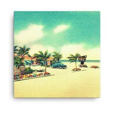 Items similar to Canvas wall art, Vintage Beach Canvas Beach Decor, Large Canvas Art, Beach House Decorating, Coastal Wall Art Aqua Yellow Canvas Print on Etsy