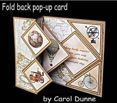 Would rather stamp my own. Fold back pop up Vintage on Craftsuprint designed by Carol Dunne Fun Fold Cards, Pop Up Cards, Folded Cards, 3d Cards, Joy Fold Card, Die Cut Cards, Step Cards, Interactive Cards, Shaped Cards