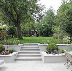 Summer Orchard Garden beds on a slope retaining walls Garden Stairs, Terrace Garden, Garden Beds, Sunken Garden, Front Garden Ideas Driveway, Sunken Patio, Gravel Patio, Garden Walls, Balcony Gardening