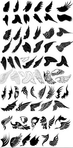 Wing Tattoos (i Want Some On The Back Of My Ankle, That Are Like The First Illustration On The Sixth Row, Since I Have Quite A Flighty Nature #arrowtattoosonback