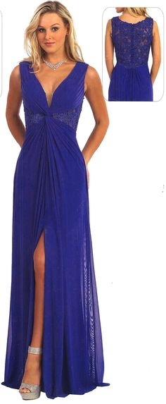 Evening Dresses Ball Dresses under $200<BR>81025<BR>Long v-neckline dress, illusion waist and back decorated by beaded appliques