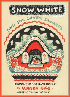 Original Wanda Gag guache study for the cover of her Caldecott Honor winning book Snow White and the Seven Dwarfs. Book Cover Design, Book Design, Vintage Fairies, Guache, Children's Book Illustration, Book Illustrations, Vintage Children's Books, I Love Books, Childrens Books