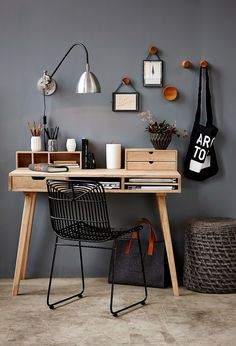 Neutral tones of grey and brown are great for home office spaces, providing a calming atmosphere that doesn't compete for your attention.
