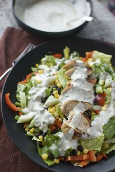 Southwest Salad with Spicy Cilantro Dressing...make dressing ahead of time.