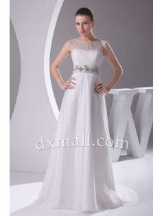 Empire Wedding Dresses Scoop Court Train Organza Taffeta Ivory 01001030032