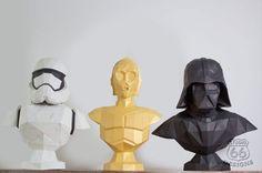 Papercraft Star Wars Make your own Statue Papercraft Paper Robot, 3d Paper, Paper Crafts, Low Poly, Silhouette Cameo, Origami, Sculptures, Lion Sculpture, Homemade 3d Printer