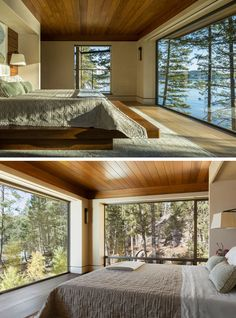 The Cliff House by McCall Design & Planning This contemporary master bedroom was envisioned with a low wood ceiling to provide a sense of privacy in contrast to the walls composed almost entirely of glass on two sides. Contemporary Bedroom, Modern Bedroom, Master Bedroom, Contemporary Kitchens, House Windows, Large Windows, Windows Image, Cliff House, Forest House