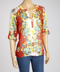 Take a look at this Crimson Floral Button-Up by Figueroa & Flower on #zulily today!