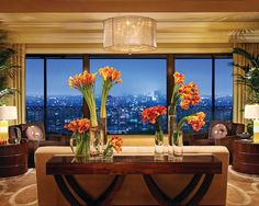 Penthouse view of the city - Beverly Wilshire (A Four Seasons Hotel) Hotel Flower Arrangements, Beverly Hills Shopping, Four Seasons Hotel, Hotel, Beverly Wilshire, Penthouse, Hotel Flowers, Beverly Hills Hotel, Wilshire Hotel