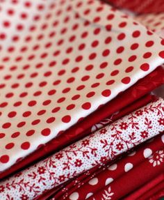 red and white fabrics . love the polka dots Miraculous Ladybug, Red Cottage, Simply Red, Fabulous Fabrics, Textiles, Shades Of Red, White Fabrics, Shabby, My Favorite Color