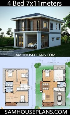 Architecture House Layout House Plans Idea m with 4 bedrooms - Sam House Plans Two Story House Design, Modern Small House Design, 2 Storey House Design, Two Storey House Plans, Duplex House Design, Simple House Design, Tiny House Design, 4 Bedroom House Designs, 4 Bedroom House Plans