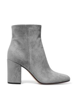 Heel measures approximately 85mm/ 3.5 inches Gray suede Zip fastening along side Designer color: Fumo Made in Italy