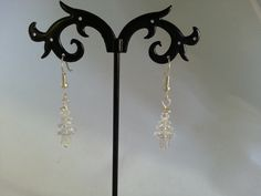 Genuine Swarovski crystal Christmas tree earrings - 3 tier clear