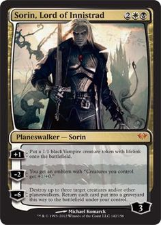 Magic: the Gathering - Sorin, Lord of Innistrad (142) - Dark Ascension by Wizards of the Coast. $14.49. This is of Mythic Rare rarity.. From the Dark Ascension set.. A single individual card from the Magic: the Gathering (MTG) trading and collectible card game (TCG/CCG).. Magic: the Gathering is a collectible card game created by Richard Garfield. In Magic, you play the role of a planeswalker who fights other planeswalkers for glory, knowledge, and conquest. Your d...