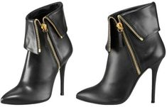 Giuseppe Zanotti Fold-Over Zip Ankle Boot in Black