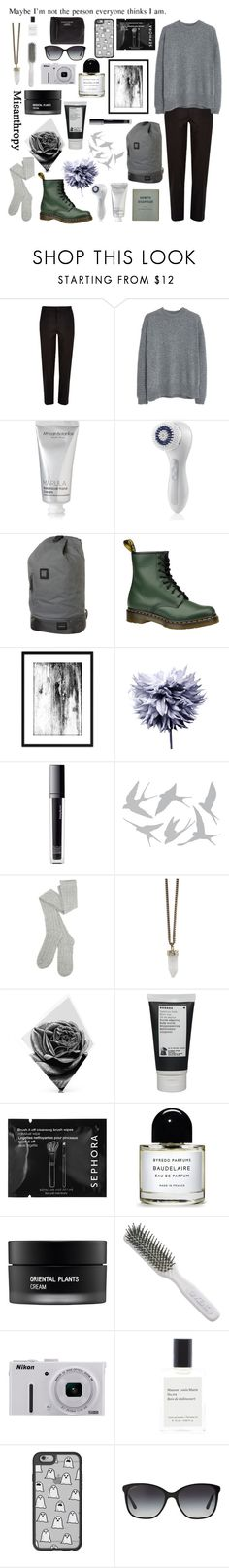 """""""it's my character again"""" by the-girl-who-fell-from-the-sky ❤ liked on Polyvore featuring MANGO, African Botanics, Clarisonic, Nixon, Dr. Martens, Art Addiction, Make, Universal Lighting and Decor, Givenchy and Maxwell Dickson"""