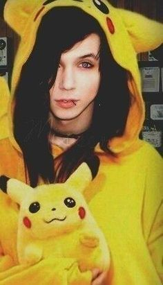 Andy Biersack with Pikachu Stuffed animal, HOTNESS at 500 degrees. *Eyes widen* he is so hot, again. I could go on forever! He is just too HOT for a girl to stand!
