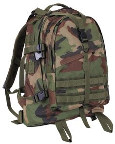 """Woodland Camouflage Large Transport Pack Backpack - Camo 19"""" MOLLE Tactical Bag"""