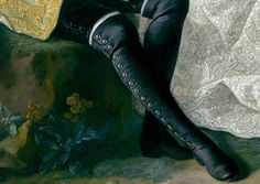 Black velvet breeches with black buttons; white stockings just showing out from a pair of leg-hugging, over-the-knee black (silk?) buttoned boots, with black square heel. 17 buttons in all, from ankle to knee. Detail from Count Giacomo Durazzo (1717–1794) in the Guise of a Huntsman with His Wife (Ernestine Aloisia Ungnad von Weissenwolff, 1732–1794), by  Martin van Meytens the Younger  (Swedish, 1695–1770)  Date: probably early 1760s. The Met.