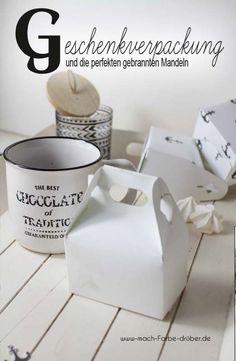 gebrannte Mandeln mit einer Prise Meersalz und DIY Verpackung selbstgestalten #DIY #Vorlage #Schachtel #gift #Geschenk #gebrannte Mandeln Canning, Gift, Sea Salt, Submission, Home Canning, Gifts, Favors, Conservation