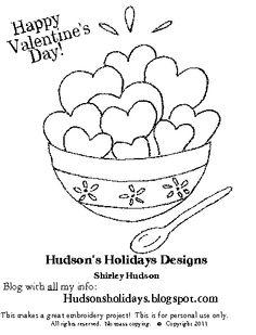 Hudson's Holidays - Designer Shirley Hudson: Freebie friday- valentine bowl of love stitchery