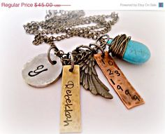 ON SALE Hand Stamped Jewelry  Mixed Metal by DanielleJoyDesigns