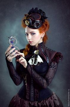 Steampunk its more than an aesthetic style, it's the longing for the past that never was. In Steampunk Girls we display professional pictures, and illustrations of Steampunk, Dieselpunk and other anachronistic 'punks. Steampunk Cosplay, Couture Steampunk, Chat Steampunk, Viktorianischer Steampunk, Steampunk Outfits, Steampunk Clothing, Steampunk Fashion, Gothic Fashion, Victorian Fashion