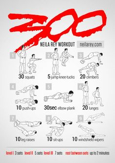 300 Workout 100 no-equipment workouts by Neila Rey Batman Workout, Superhero Workout, Jedi Workout, Spartan 300 Workout, Insanity Workout, Gym Workouts, At Home Workouts, Workout Routines, Workout Challenge