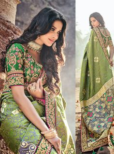 695d7e73347d8 Buy Green Banarasi Silk Saree Embroidered Blouse 121803 with blouse online  at lowest price from vast collection of sarees at m.indianclothstore.c.