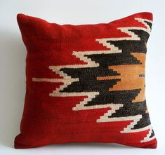 Lovely Kilim Pillows For Bedroom Accessories Ideas: Red Kilim Pillows With Cool Pattern For Bedroom Accessories Ideas Red Decorative Pillows, Red Throw Pillows, Custom Pillows, Decor Pillows, Tapete Floral, Native American Patterns, Southwest Decor, Southwestern Rugs, Bedroom Accessories