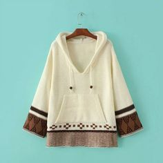 Autumn winter new women's Hooded long sleeve relaxed sweater white brown