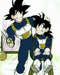 Goku gives Gohan a haircut