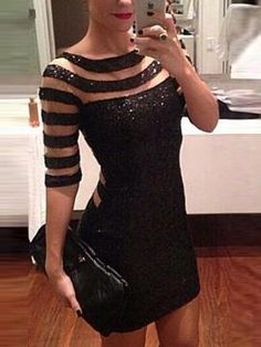 Shop Black Stripe Bodycon Dress With Half Sleeves from persunmall.com .Free shipping Worldwide.