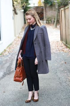 Wear Gap's slim cropped pants with a silk blouse and heels for a sophisticated winter outfit. Blogger Poor Little It Girl drapes a coat over her shoulders for a cool, oversized look. Shop these Gap pants for a perfect wardrobe staple.