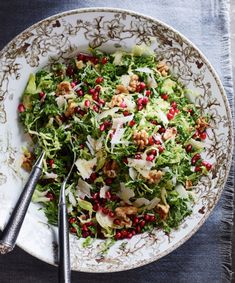 Two fall vegetables, brussels sprouts and kale, come together in this festive salad. A sprinkling of pomegranate seeds adds a pop of color.