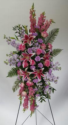 Standing funeral spray @flowersbyaprilct