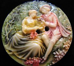 Lovely vintage picture button in raised scene ~ celluloid.