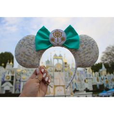 Small World Mouse Ears Headband, Custom Ears ($28) ❤ liked on Polyvore featuring accessories, hair accessories, wide headbands, embroidered headbands, head wrap headbands, headband hair accessories and bow headwrap