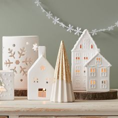 Christmas House Ceramic Tea Light Holders 3 Pack   Hobbycraft Festival Decorations, Xmas Decorations, Led Candle Lights, Ceramic Houses, Home Candles, Christmas Tea, Ceramic Design, Little Houses, Tea Light Holder