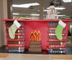 Our book fireplace #schoollibrary