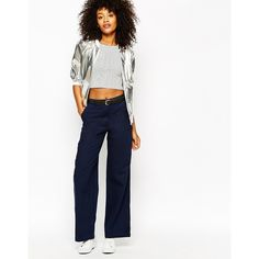 Monki Wide Leg Casual Pant ($62) ❤ liked on Polyvore featuring pants, navy, cotton pants, tall pants, navy pants, woven pants and tall wide leg pants
