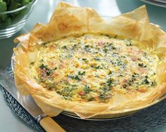 Corn and Bacon Filo Tart - Food in a Minute Food In A Minute, Bacon Egg Muffins, Savory Tart, Savoury Dishes, Light Recipes, Appetizer Recipes, Appetizers, Delish, Breakfast Recipes