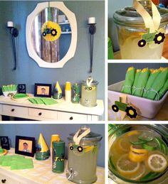 John Deere party - Lemonade w/ lime & lemon  Love the yellow silverware with green napkins. and the Lemonade with limes to make the yellow and green