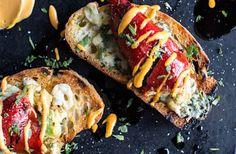 Cheesy avocado crab stuffed piquillo pepper ciabatta pizzette's with sriracha aioli