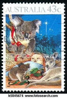 Native Australian Animals feature on this Christmas Postage Stamp - Australia Post