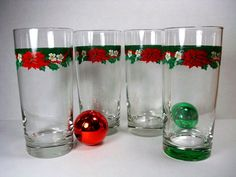 Vintage Holiday Drinking Glasses  Christmas by Kisses4Lucy on Etsy