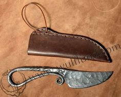 FORGED VIKING KNIFE and leather sheath